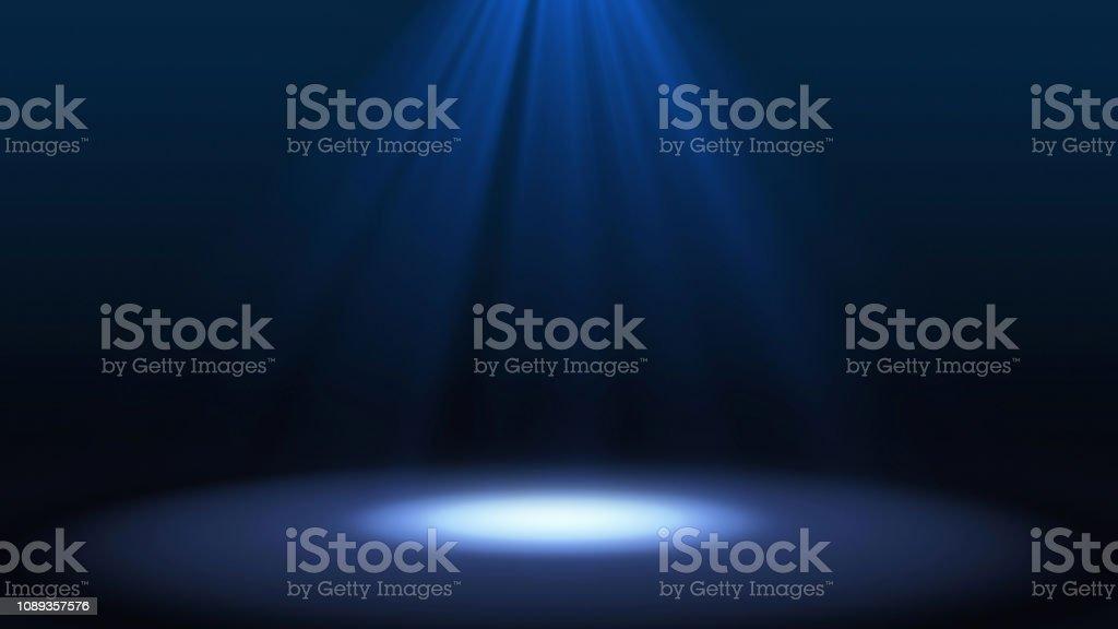 黒背景、未来的な技術コンセプト、モックアップに分離された劇場でステージ パフォーマンスに青いスポット ライトです。イラスト背景。 - お祝いのロイヤリティフリーストックフォト