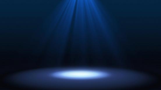 黒背景未来的な技術コンセプトモックアップに分離された劇場でステージ パフォーマンスに青いスポット ライトですイラスト背景 - お祝いのストックフォトや画像を多数ご用意