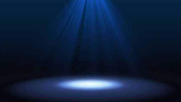 blue spotlight on stage performance in a theater isolated on black background, mock up, in futuristic technology concept. illustration background. - spot lit stock pictures, royalty-free photos & images