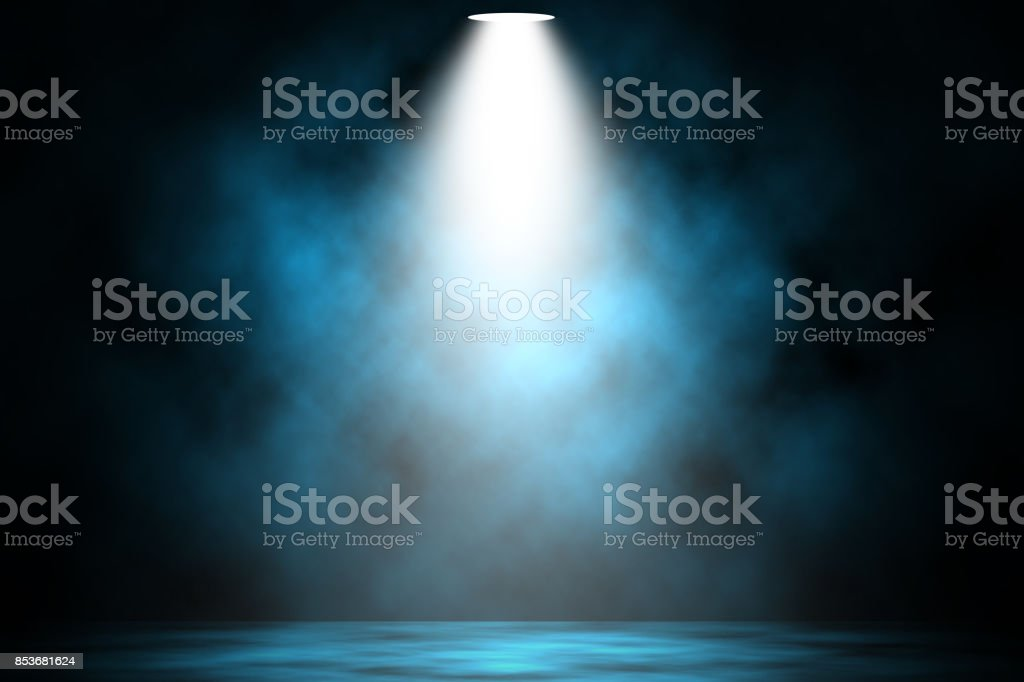 Blue spotlight smoke stage entertainment background. royalty-free stock photo