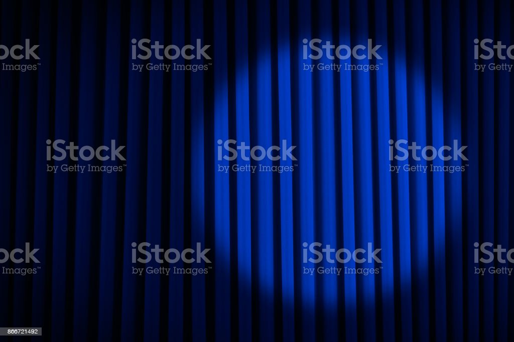 Blue Spotlight Stage Curtains stock photo