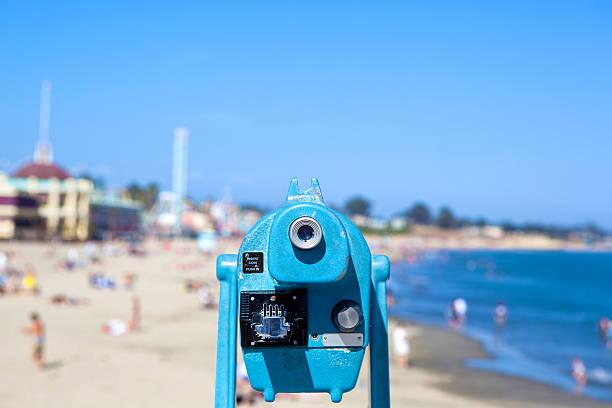 Blue Spotting Scope at a Beach stock photo