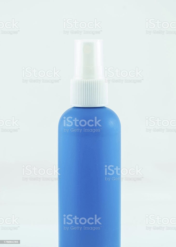 Blue spray medicine antiseptic drugs plastic Bottle royalty-free stock photo