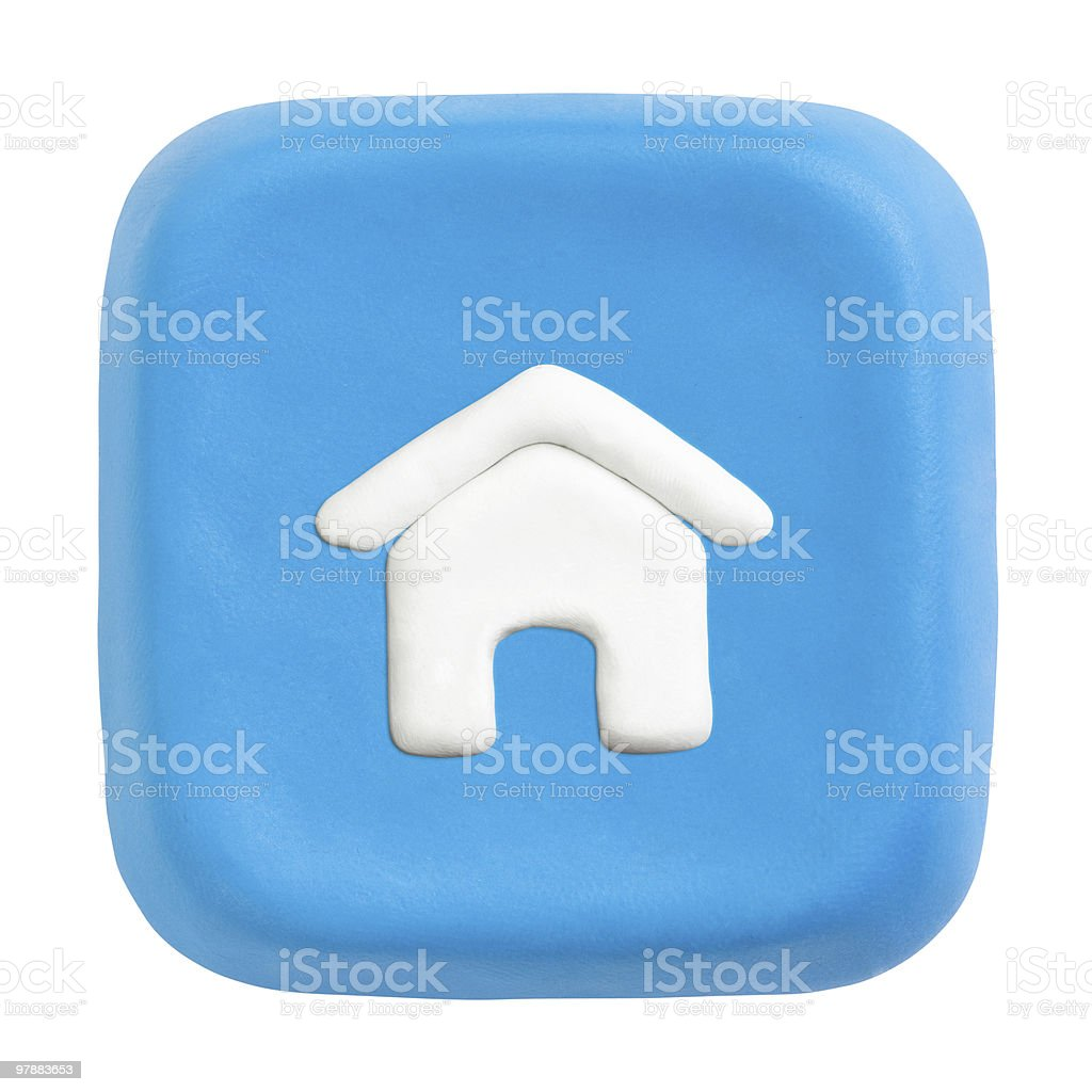 Blue square home key. Clipping paths for button, icon stock photo