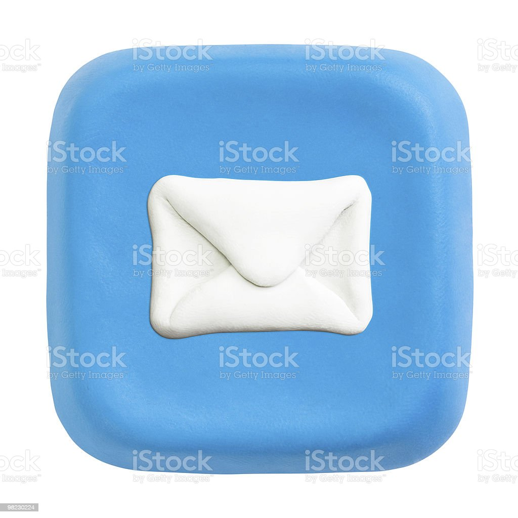 Blue square mail key. Clipping paths for button, icon royalty-free stock photo