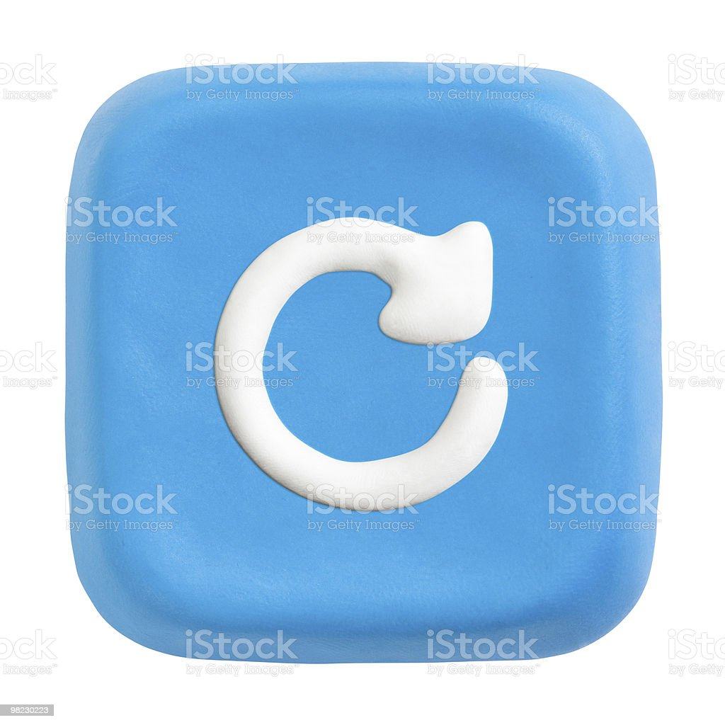 Blue square refresh key. Clipping paths for button, icon royalty-free stock photo