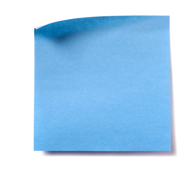 blue square sticky post note isolated on white - post it foto e immagini stock