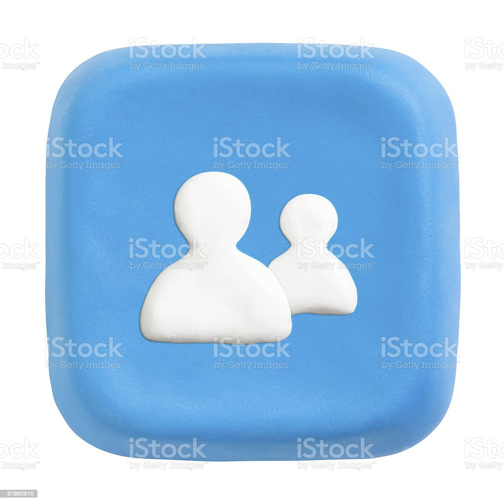 Blue square users key. Clipping paths for button, icon royalty-free stock photo