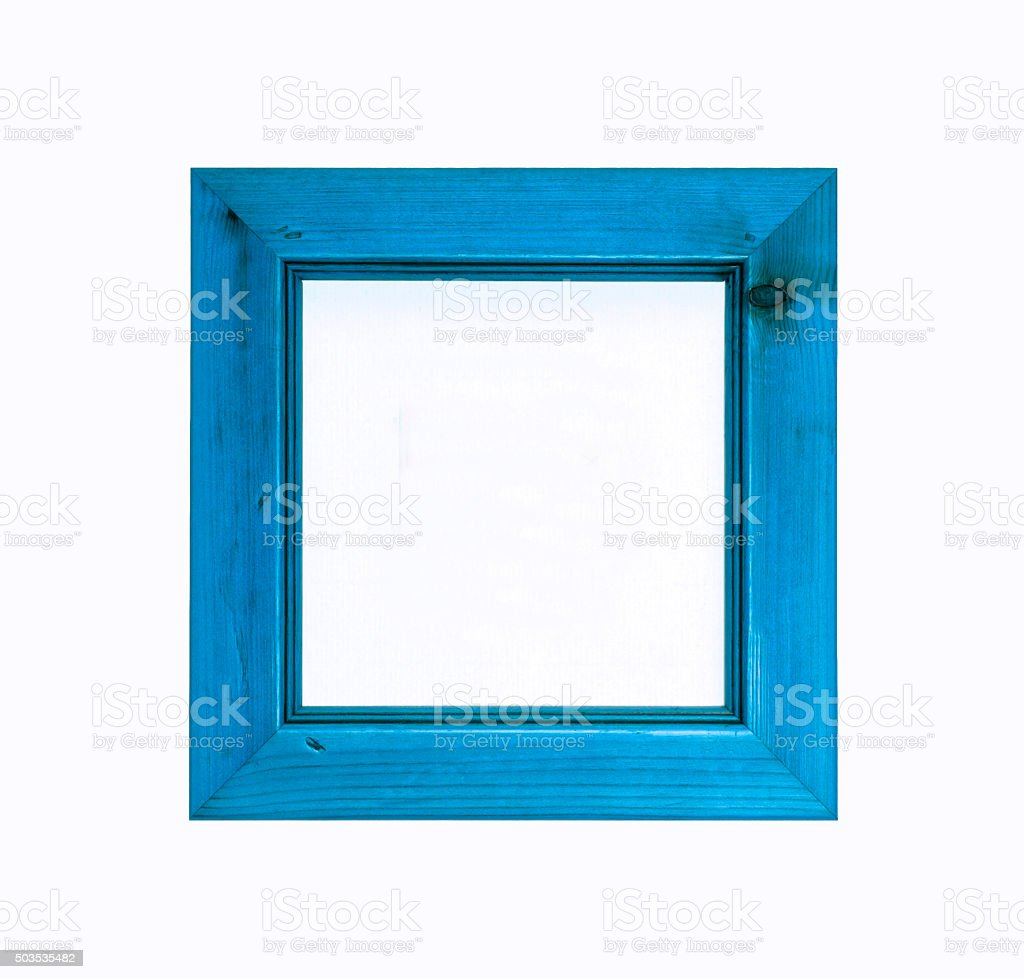 Blue square wooden picture frame isolated on white background. stock photo