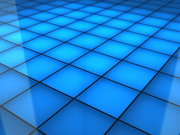 a blue squared dance floor background - dance floor stock photos and pictures