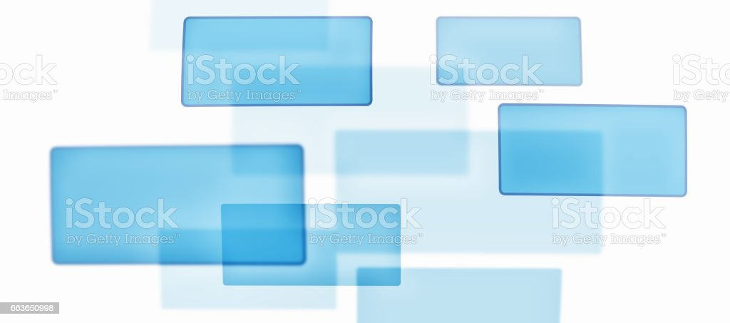 Blue Squares on White Screen - Digital Technology Concept stock photo