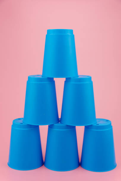 blue stacks plastic cups. Speed stack cup. stock photo