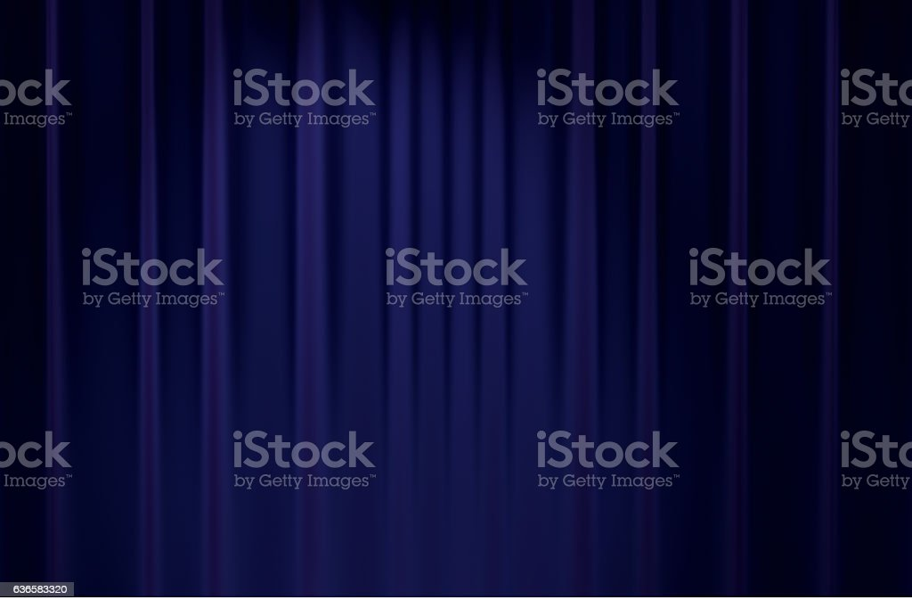 blue stage backdrop curtain classic theater background 3D render stock photo