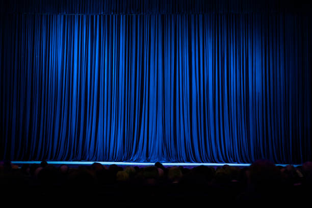 blue stage curtain texture background - curtain stock pictures, royalty-free photos & images