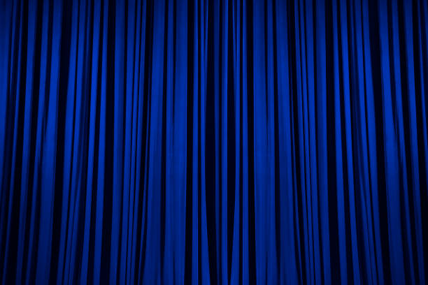 Blue Stage Curtain Texture Background stock photo