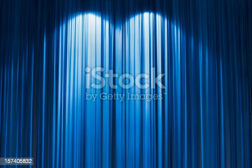 istock Blue Stage curtain wallpaper background. 157405832