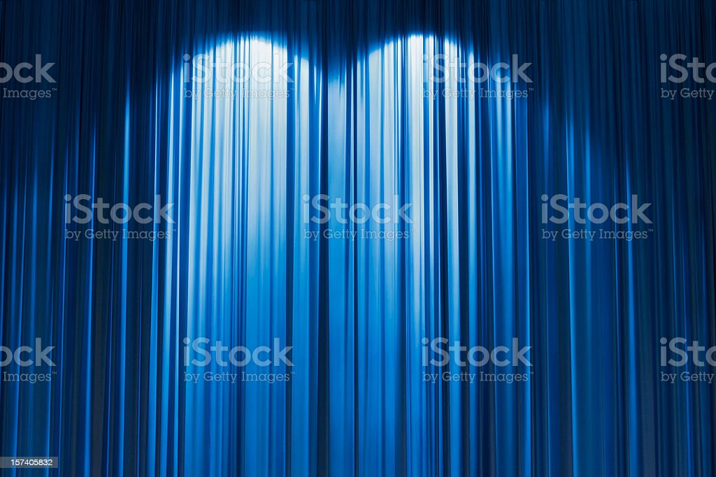 Blue Stage curtain wallpaper background. stock photo