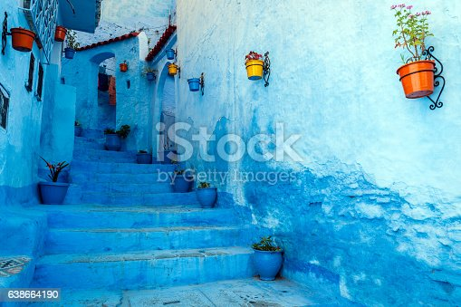 Chefchaouen is a blue city in the north of Morocco. The place is named after the mountain tops behind the village which look like two horns of a goat (chaoua). Chefchaouen is a touristic place with many visitors from all over the world.Morocco,North Africa,Nikon D3x