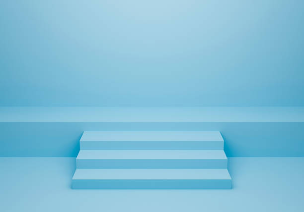 Blue stairs up front view. Pastel color room background with stairway. 3D Rendering design. Stairway or podium geometrical texture for banner and product presentation. Minimal staircase idea concept. stock photo