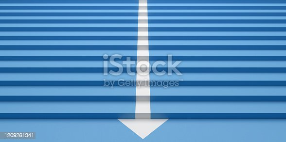 157434064 istock photo blue stairs with a arrow sign 3d render 1209261341
