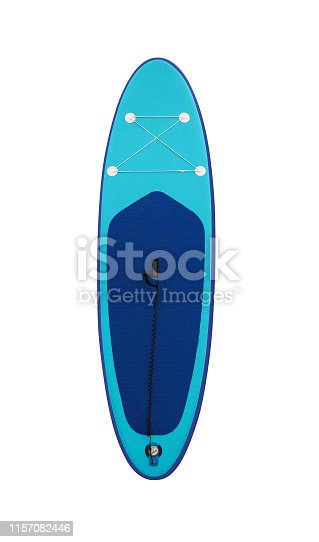Blue stand-up paddleboard isolated on white background