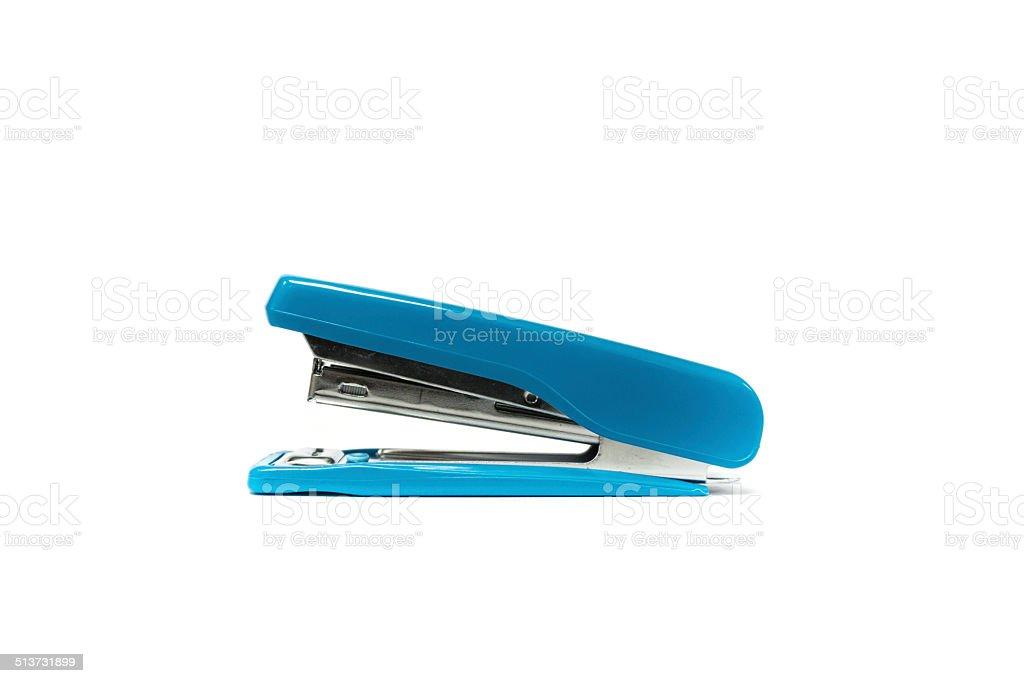 Blue stapler isolated stock photo