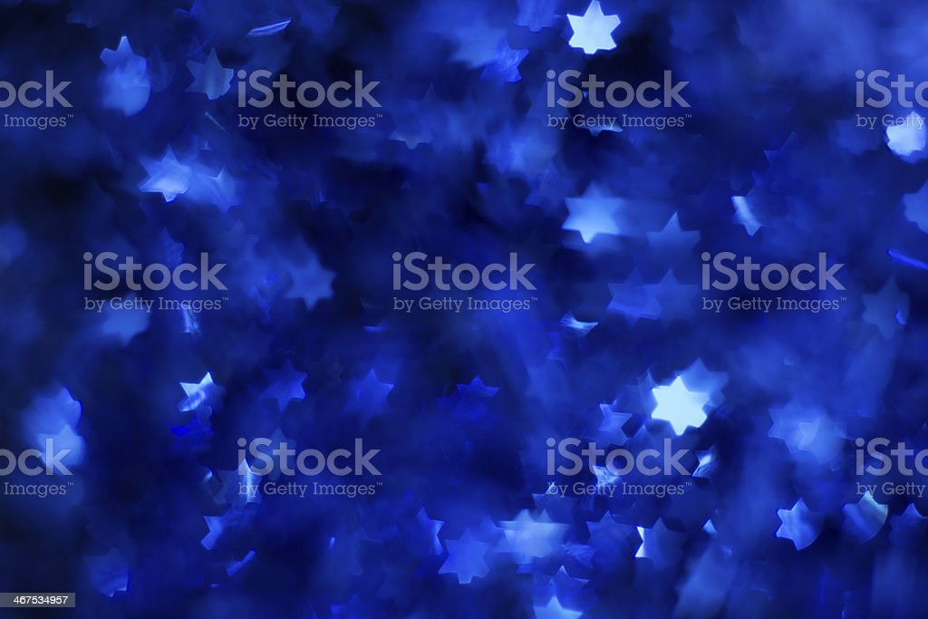 blue star bokeh stock photo
