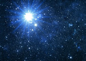 Blue star flare, space galaxy background