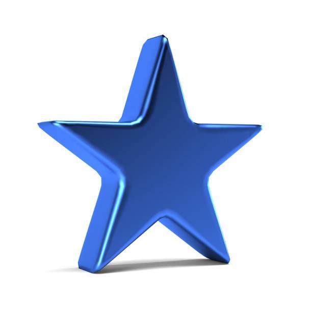 blauer stern-symbol. 3d gold render illustration - kunst 1. klasse stock-fotos und bilder