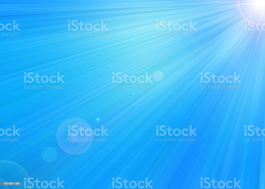 Blue star light rays background. Raster graphic image. stock photo