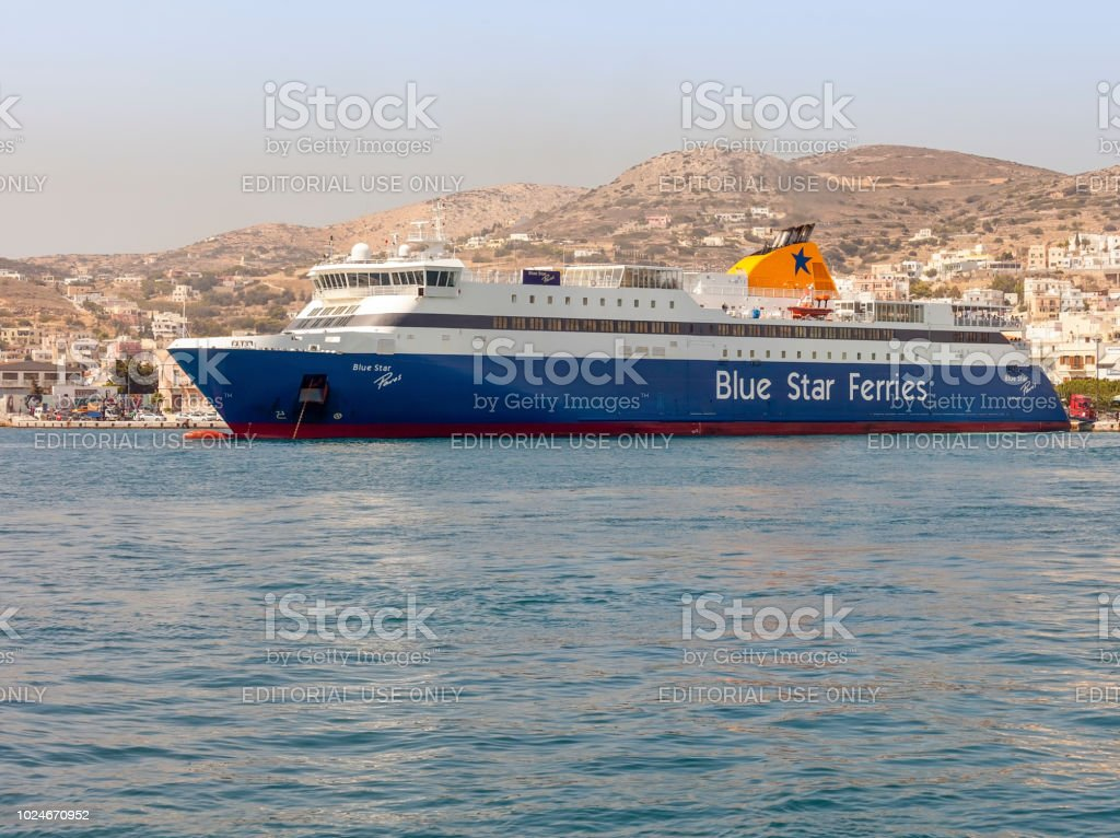 Blue Star Paros. Ferry Ship Moored In Syros Island. Editorial Image. stock photo
