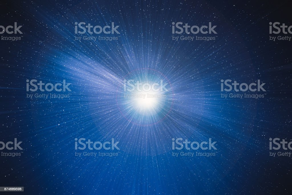 blue star sky with motion to move deep into galaxy background concept stock photo