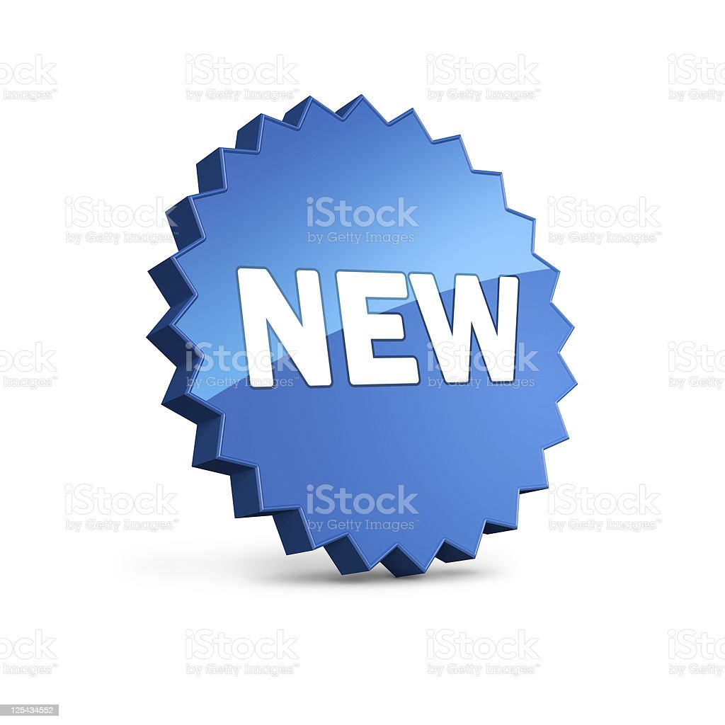 Blue star with 'NEW' sign, clipping path included royalty-free stock photo