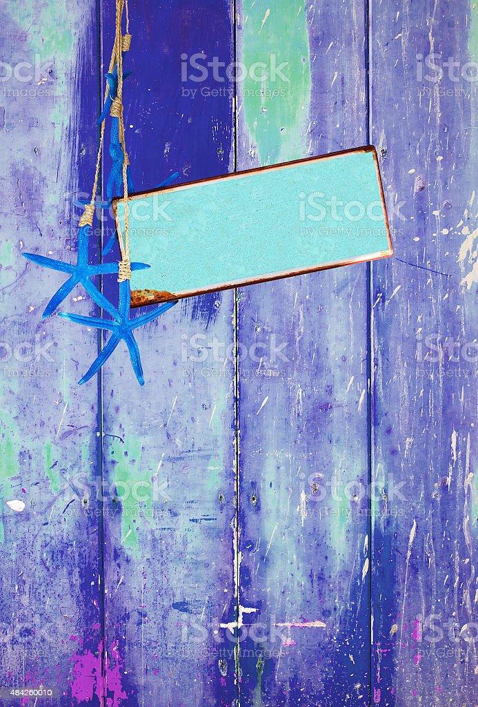 Estrela-do-mar azul turquesa e espaço na Azul - foto de acervo