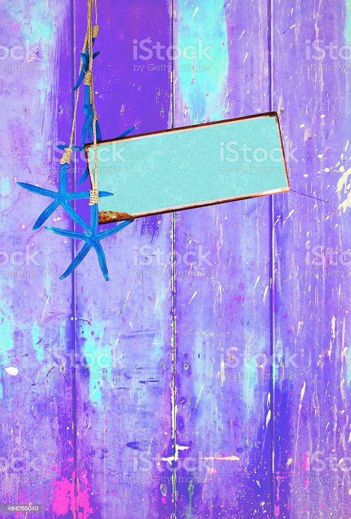 Estrela-do-mar azul turquesa e roxo espaço em - foto de acervo
