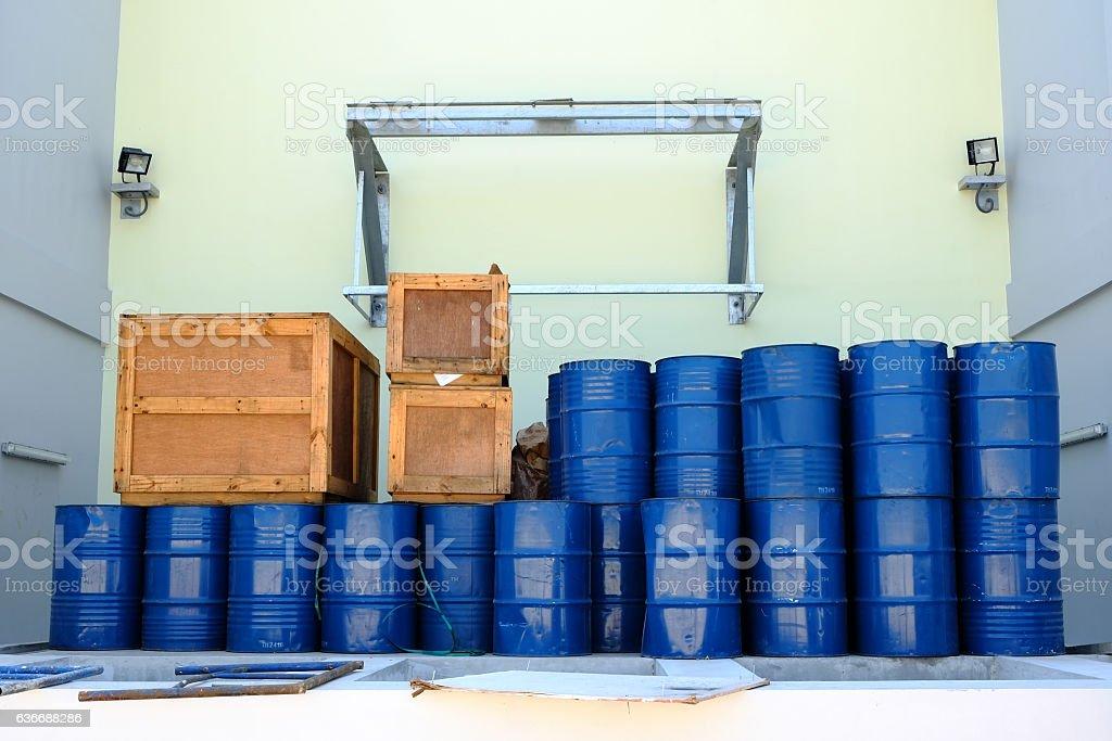Blue steel oil tanks stock photo