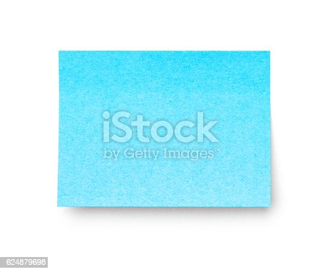 istock Blue sticky note isolated on white background. 624879698