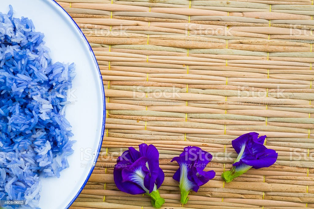 Blue sticky Rice made from Butterfly Pea flower(Asian pigeonwing stock photo