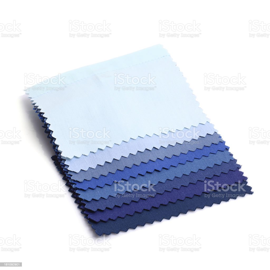 Blue Stitched Fabric Swatches royalty-free stock photo
