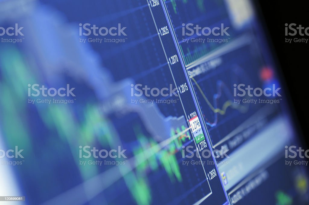 Blue Stock Chart Growth royalty-free stock photo