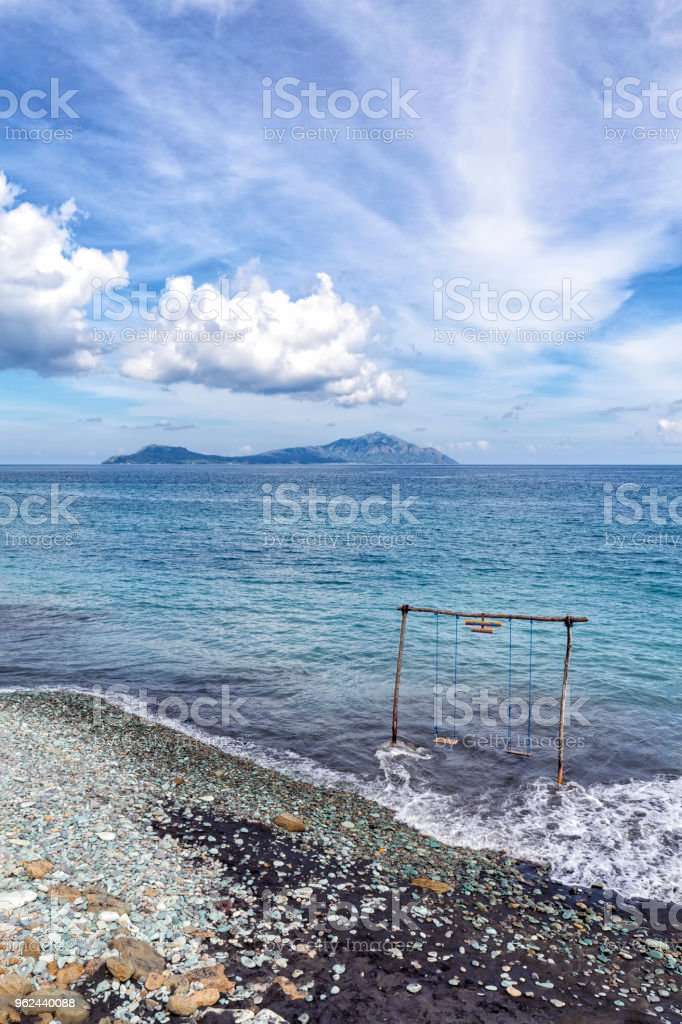 Blue Stone Beach Portrait stock photo