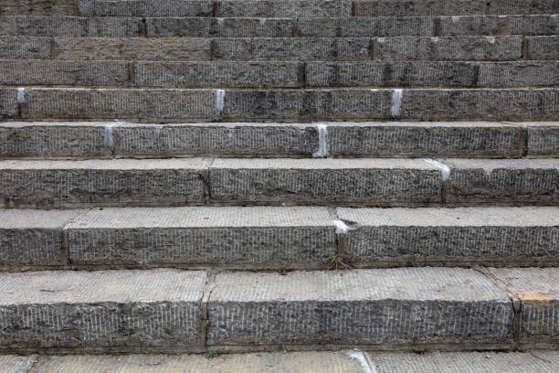 blue stone steps - granite rock stock photos and pictures