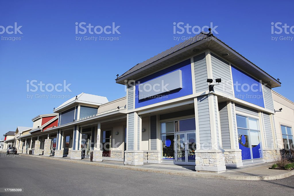Blue Store Building Exterior stock photo