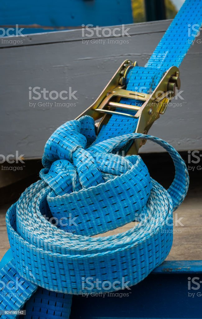 Blue Strap and Ratchet stock photo