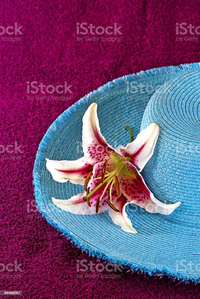 Голубой Соломенная шляпа с Восточная лилия на Красный фон Стоковые фото Стоковая фотография
