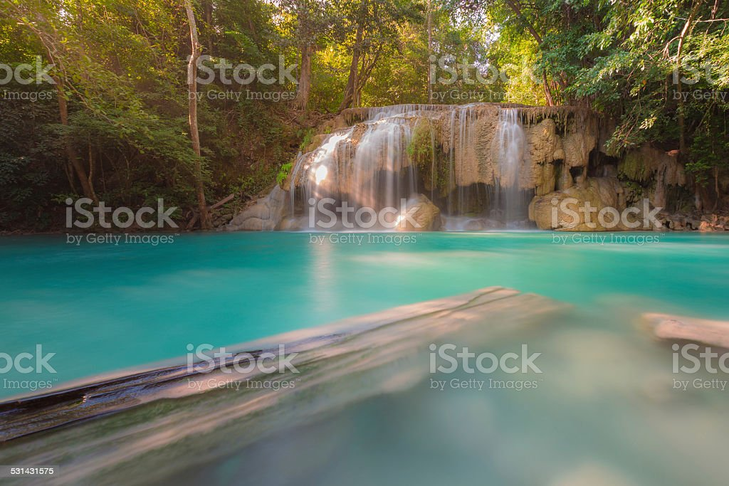 Blue stream waterfall locate in Erawan Nation Park