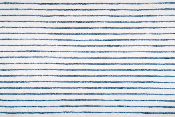 blue striped fabric linen close-up - striato foto e immagini stock
