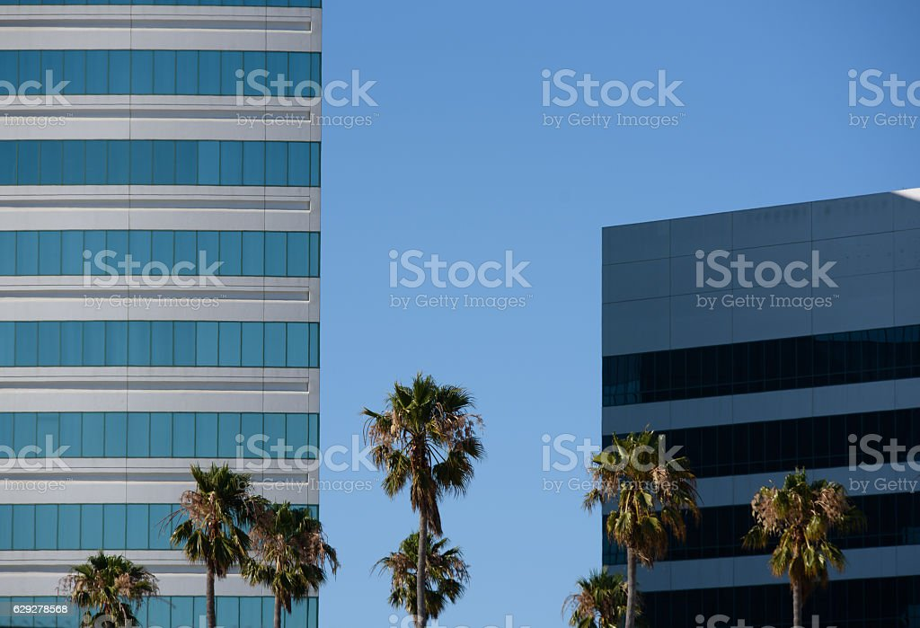 Blue Stripes tall building stock photo