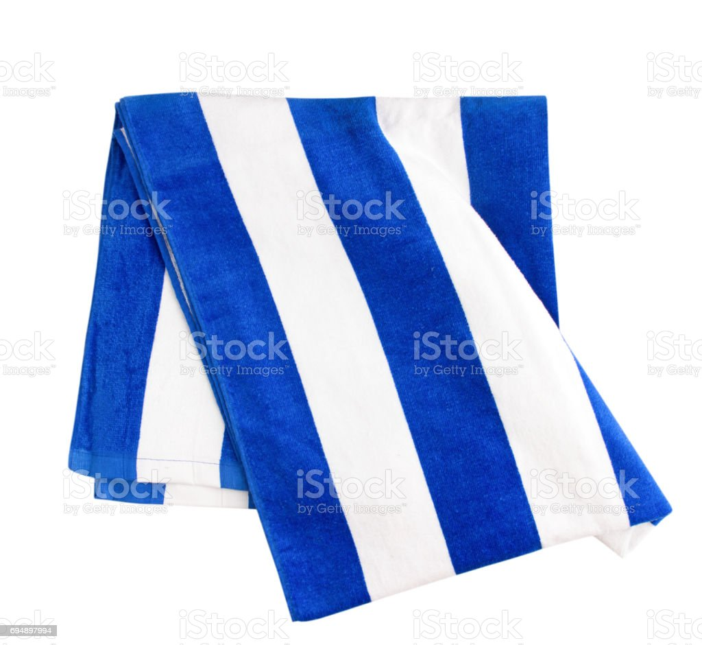 Blue stripped beach towel isolated on white. - foto stock