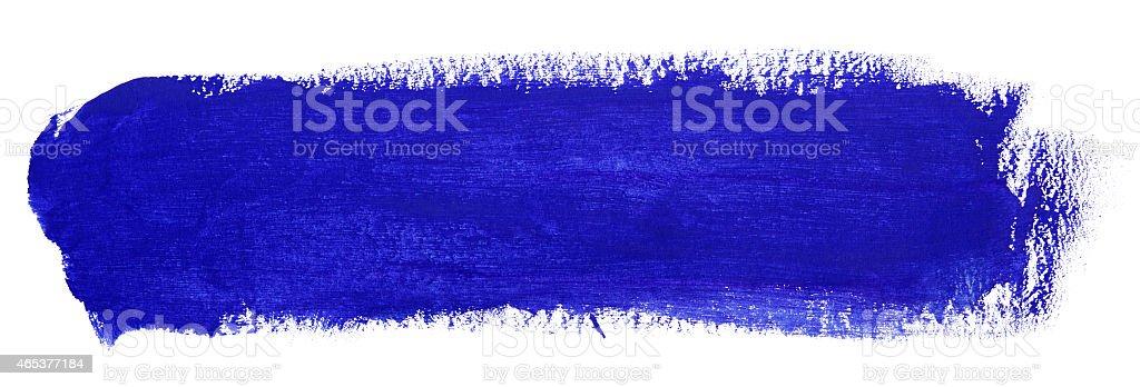 Blue stroke of gouache paint brush stock photo
